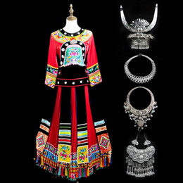 miao clothes clothing Australia - Hmong Wedding Dress Chinese Costumes Hmong Clothes Ethnic Embroidery Dance Performance Costume Adult Women Miao Hat Clothing