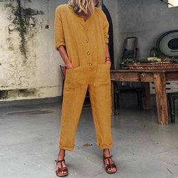 $enCountryForm.capitalKeyWord Australia - Womail Fashion Overalls For Women Summer Casual Long Sleeve Solid Color Button Cotton And Iinen Loose Long Jumpsuit Jun08
