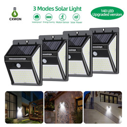solar led sensor indoor Australia - 100LEDs 140LEDs Solar Garden Lights 3 Modes Solar Outdoor Lamp PIR Motion Sensor 270° Lighting Angle Security Pathway LED Solar Wall Light
