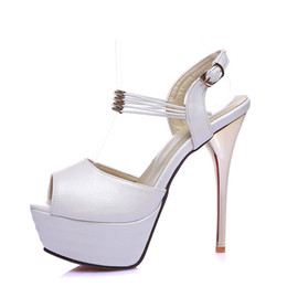 $enCountryForm.capitalKeyWord Australia - Cocoafoal Women White Wedding Sandals Plus Size 31 - 44 Pink Rose Red High Heels Pole Dance Shoes Sexy Peep Toe Summer Pumps