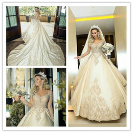 Castle Bling Wedding Dress Canada - Ball Gown Long Sleeve Plus Size Princess Champagne Milla Nova Wedding Dresses Bling Long Train 2019 New Wedding Bridal Gowns South Africa