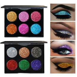 eyeshadow pigment palette wholesale NZ - HANDAIYAN 6 Colors Glitter Eyeshadow Makeup Pallete Diamond Eye Shadow Powder Pigment Cosmetics Palette