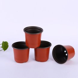 flower pot sizes Canada - Multi-size Double Color Flower Pots Plastic Red Black Nursery Transplant Basin Unbreakable Flowerpot Home Planters Garden Supplies BC BH3637