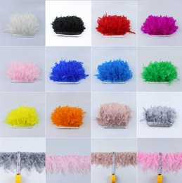 dyed turkey feathers 2019 - 1 Meter 18 colors Dyed Leather Pink Turkey Feather Fringe Trim 6-8inches Chandelle Marabou Feather Trimming Skirt Dress