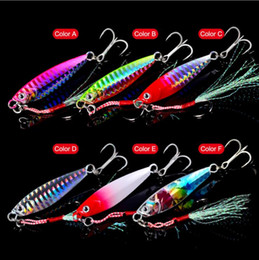 saltwater trolling lures NZ - DHL Shipping Top Quality 3D Eye Fishing Lure Lead Lures Feather Fishing Tackle 6 Colors 60mm 15G-#6 Hook