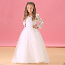 White Ballgown Wedding Dresses NZ - White Princess Cute Flower Girl KidsBirthday Dress Flower Party Wedding BallGown