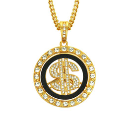 $enCountryForm.capitalKeyWord NZ - Punk Round US Dollar Sign Pendant Necklace Golden Plated Rhinestone Crystal Gold and Silver Fashion Star Men Jewelry Long Link Chain