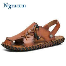 53a7243b4fc60 Ngouxm Men Sandals High Quality Summer Genuine Leather Man Casual Handmade  shoes Sewing Male Beach Sandals Concise Design Shoes