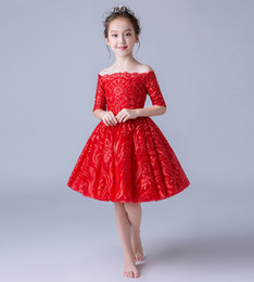 Pictures Wine Red Wedding Dress Australia - Beauty Red Wine Half Sleeves Knee Girl's Pageant Dresses Flower Girl Dresses Princess Party Dresses Child Skirt Custom Made 2-14 H316435