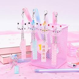 $enCountryForm.capitalKeyWord Australia - 1PC Cute Cat Pens Kawaii Crystal Gel Pens Pendant Neutral For Kids Gift School Office Supplies Stationery