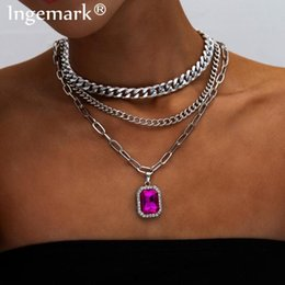 purple choker necklace UK - Gothic Multi Layer Purple Crystal Pendant Choker Necklace Collar Statement Vintage Chunky Thick Chain Women Fashion Jewelry 2020