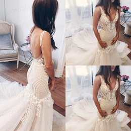 Delicate Lace Back Wedding Dress Australia - Delicate Lace Straps Mermaid Wedding Dress Ivory Deep V Neck With Sexy Back Cheap Bridal Gowns Simple Wear