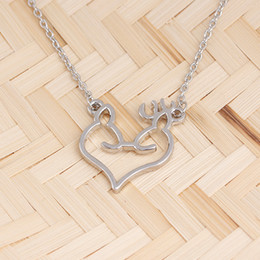 wholesale fox jewelry NZ - 10 Love heart Elk Head Small Fresh Art Fan Elf Antlers pendant Necklace Animal Fox Deer Christmas Deer charm Necklace Lucky Amulet Jewelry