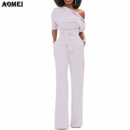 Wool clothing for Women online shopping - Women Jumpsuit One Shoulder With Wool Pockets Officewear Romper Combinaison Sashes Blend Fashion Female Jumpsuits For Elegant Lady Clothing