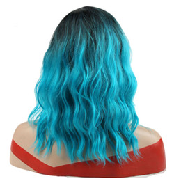 "$enCountryForm.capitalKeyWord Australia - 14"" Synthetic Ombre Red Blue Pink Wigs Heat Resiatant Short Water Wave False Hair for African American Women"