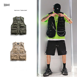 pockets photography vest Australia - Summer Thin Hollow Multi Pocket Functional Wind Tactical Vest Korean Style Fashion coat Army Green Mesh Photography Vest Men