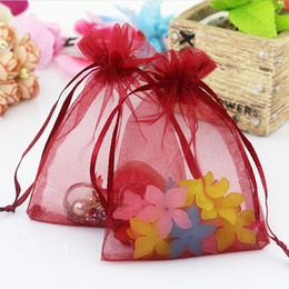 Logo Promotional Gift Australia - 7x9cm Dark Red Organza Bags Promotional Gifts Customized Logo Bags Custom Gift Bags Saquinho De Organza 100pcs lot