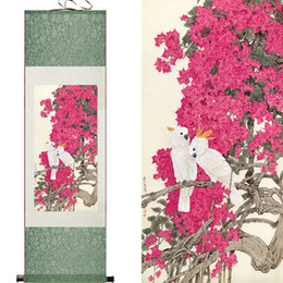 chinese flower decorations UK - White Birds And Pink Beautifull Flowers Super Quality Traditional Chinese Art Painting Home Office Decoration Chinese Painting