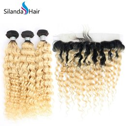 Good ombre weave online shopping - Silanda Hair Good Quality Ombre T B Deep Wave Texture Remy Human Hair Weaves Bundles With X4 Lace Frontal
