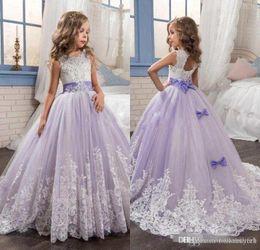 $enCountryForm.capitalKeyWord Australia - Beautiful Purple Flower Girls Dresses For Wedding kids Beaded Lace Appliqued Bows Girls Pageant First Communion Dresses