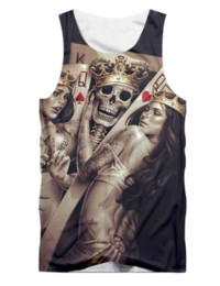 Discount shirt 3d skull print - Newest Fashion Funny Skulls Printed short Tops Sleeveless Hollow Out O Neck Casual Tank 3d Vest Bodybuilding Fitness Spo