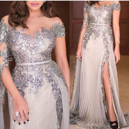 long modest prom dresses pleats UK - 2020 Modest Silver Prom Dresses Long Sleeves Sheer Neck Lace Applique Sequins Beaded Side Slit A Line Ruched Pleats Evening Party Gowns