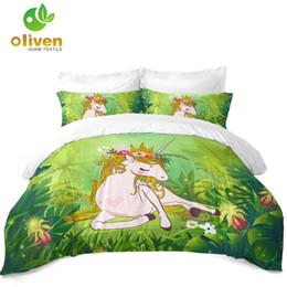 $enCountryForm.capitalKeyWord Australia - 3D Princess Unicorn Bedding Set Sugar Cartoon Duvet Cover Set Green Plant Leaves Print Bedding Girls Gifts Bedroom Decor D25