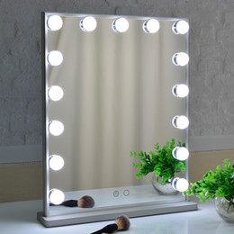 decorative makeup Canada - Vanity mirror with lights ,Tabletop&Wall mounted Salon Touch Control 3 color Fixture Strip Dimmable Light Bulbs for makeup