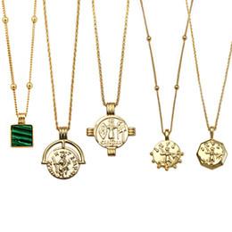 Ingrosso Collana medaglione romano moneta collana girocollo disco oro per donne e ragazze gioielli collana personalizzata