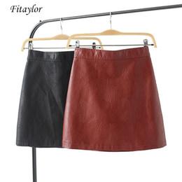 081af96e6 Fitaylor Faux Pu Leather Short Skirt Women Fashion 2019 Slim Black Sexy  Mini Skirt High Waist Zipper Female Leather A-line