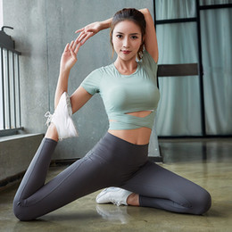 Wholesale female skirt trousers for sale – dress Gym Yoga Clothing Three piece Set Speed Dry Female Sports Slim Fit Vest Running Fitness Trousers Slim T Shirt