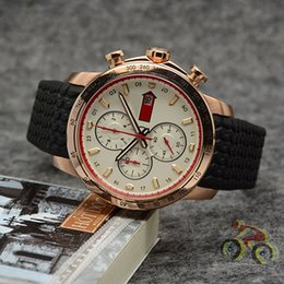 Chinese  Quartz Outdoor Mens Watches 48MM Gold Case Wristwatch With A Black Tire Tread Rubber Strap and Minute Markers Around The Outer Rim manufacturers