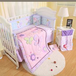 Girls Bedding Australia - Promotion 9Pcs Baby girl bedding set Purple butterfly Crib bumper set Embroidery flower Baby cot bed Cuna quilt Bumper Blanket Skirt