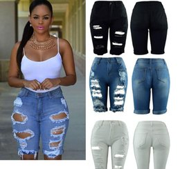 $enCountryForm.capitalKeyWord Australia - Women Elastic Hole Leggings Short Pants Harajuku Style Casual Street Style Blue Denim Shorts Ripped Boyfriend Jeans