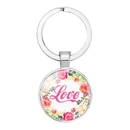faith plates NZ - 2019 new fashion creative hanging keychain accessories Hope Faith Dream theme heart pendant rose wreath necklace key chain