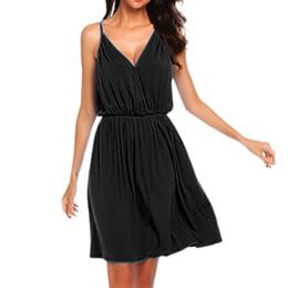 $enCountryForm.capitalKeyWord NZ - Women Casual Loose Solid Color Sleeveless Empire Oversized V Neck Dress Fabric Refreshing Summer Tops For Women Sleeveless