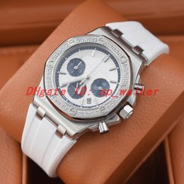 orange bezel Canada - New Fashion iced out watch lady watches Diamond bezel oak VK movement wristwatch white Rubber strap montre de luxe Two tone face Chronograph