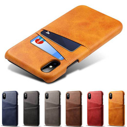 Credit Card Clips online shopping - For iPhone X XS Max XR Credit Card Case Vintage PU Leather Wallet Case for iPhone S Plus Card Slots Hard Cover