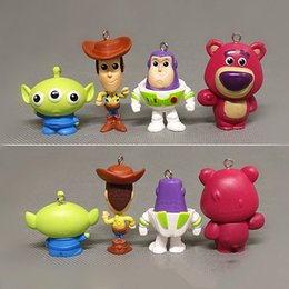 Toys Lighting Australia - 4 CM Toys Storys Action - Series 4 Woody Buzz Light INyear PVC Action Figure Key Ring Accessories Commemorative Collectible Model