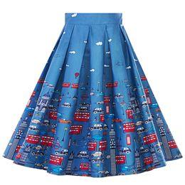 93e4c84232 Falda talla grande Faldas de talle alto Para mujer Blanco Vintage Una línea  de cintura alta con estampado plisado vestido acampanado Faldas midi   9