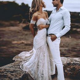 White Ivory Mermaid Wedding Australia - Sexy Boho Beach Ivory Lace Mermaid Wedding Dresses 2019 Sweetheart Long White Bridal Dresses Hawaiian Wedding Dress Gowns Summer