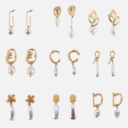Discount women bridal sets - Dvacaman 4 PCS Earrings Sets for Women Freshwater Pearl Danlge Drop Earrings Baroque Wedding Bridal Statement Wholesale