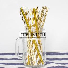 $enCountryForm.capitalKeyWord NZ - wholesale 10000pcs Paper Straws Gold Metallic Foil Paper Straws Wedding Birthday Party Decoration Dot Striped Chevron