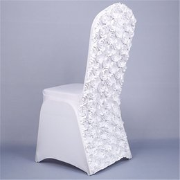 plain white chair covers UK - New Stretch Wedding Chair Covers with Rose Flower Solid White Red Spandex Chair Cover for Hotel Banquet Party Home Textile T200601
