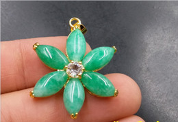 Jade Flower Pendants Australia - 2019 new best real stone Green jade hand-carved flower Pendants FREE SHIPPING Fashion jewelry Wholesale and retaill