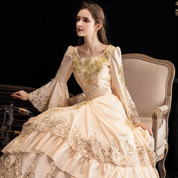 Renaissance faiRy costumes online shopping - 100 real champagne beading period cos queen fairy cosplay ball gown royal princess Medieval Renaissance Victorian dress Belle ball