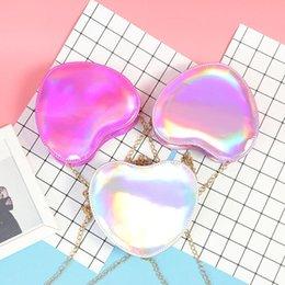 Cute Phone Chains Australia - Cute Girl Bag Heart-shaped Laser Colorful Handbags 2019 High Quality Women Bag Shoulder Messenger Bags Chain Heart Mini Phone Bag