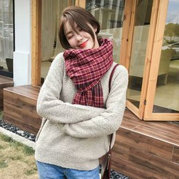 Tartan Scarf Thick Australia - Scarf autumn and winter female students Korean version of the wild warm ins couple models soft sister long section thick wool scarf men