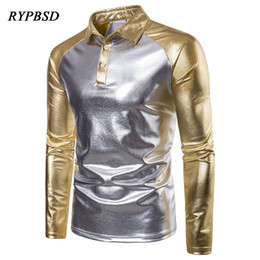 Stage Shirts Australia - Spring Autumn Fashion Metallic Shiny Party Nightclub Stage Dance Turndown Collar Long Sleeve Patchwork Gold Silver Shirts Men