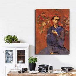 picasso arts UK - Pablo Picasso Boy With A Pipe HD Wall Art Canvas Posters Prints Painting Wall Pictures For Kitchen Bedroom Home Decor Framework